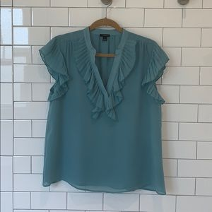 Ann Taylor Factory Pleated Ruffle Top